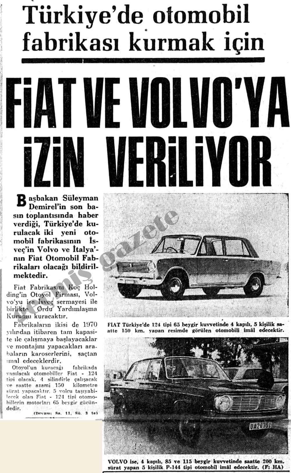Türkiye'de otomobil fabrikası kurmak için Fiat ve Volvo'ya izin veriliyor