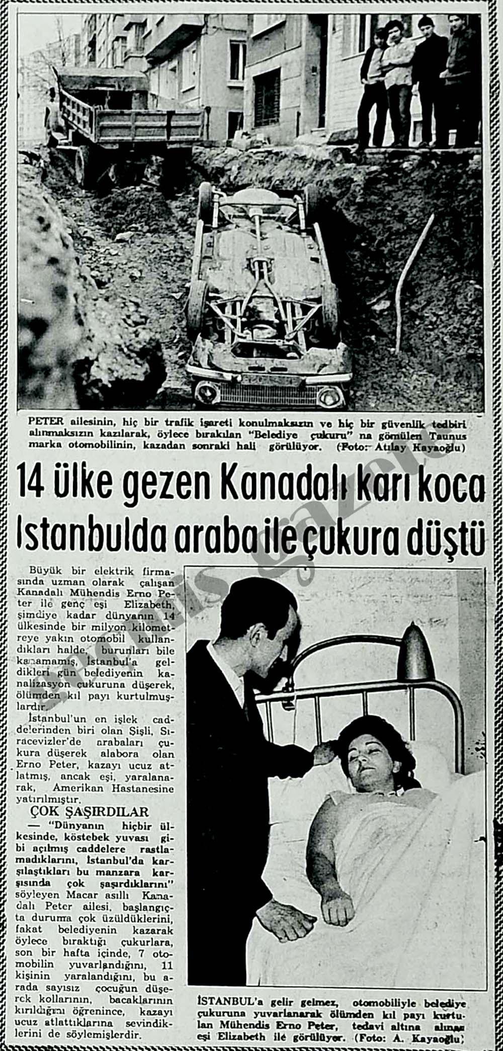 14 ülke gezen Kanadalı karı koca İstanbulda araba ile çukura düştü