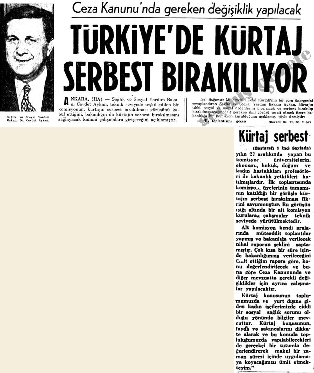 Türkiye'de kürtaj serbest bırakılıyor