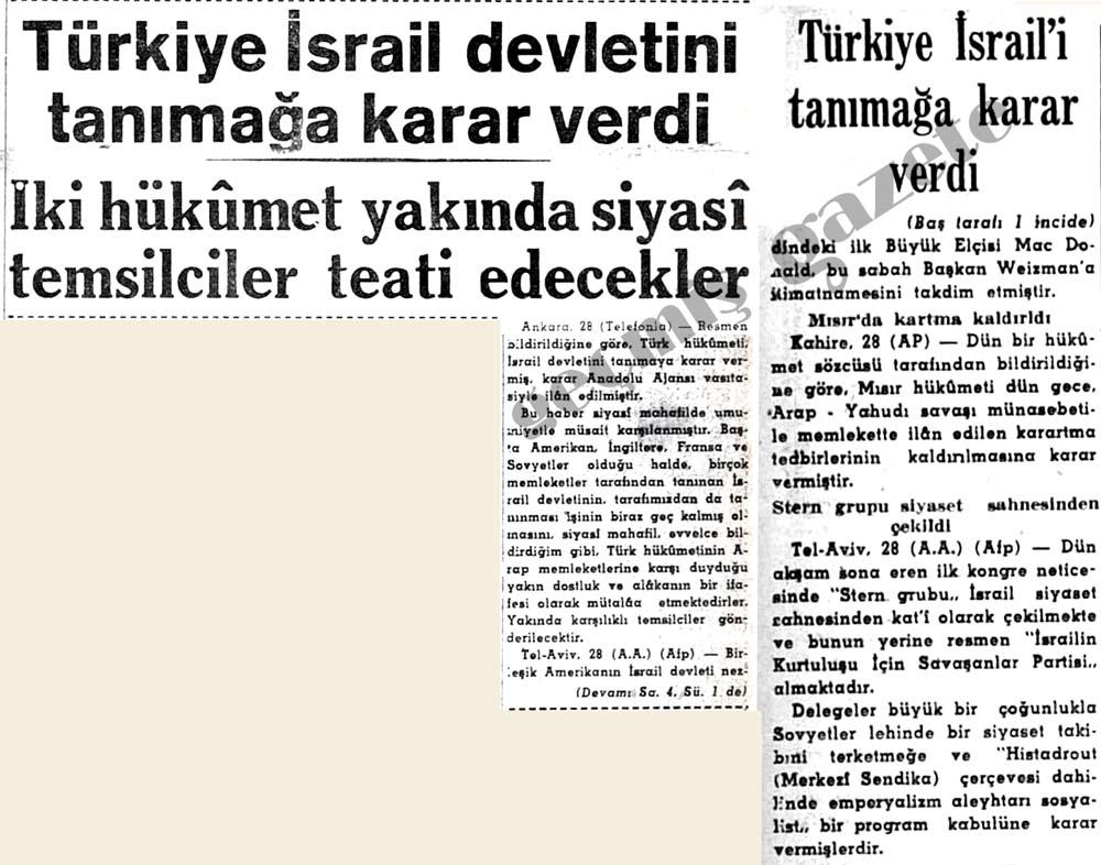 Türkiye İsrail devletini tanımağa karar verdi