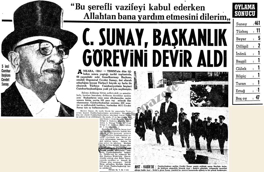 5 inci Cumhurbaşkanı Cevdet Sunay