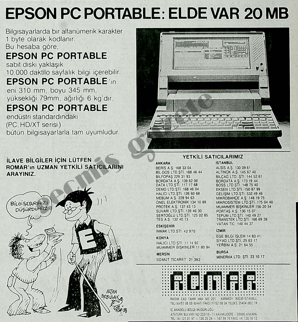 Epson Pc Portable: Elde var 20 MB