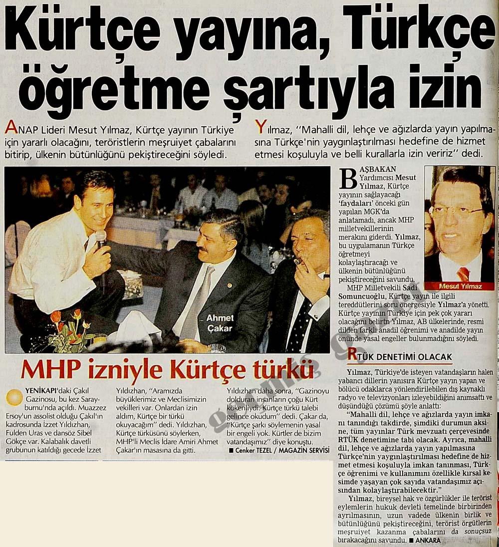 Kürtçe yayına, Türkçe öğretme şartıyla izin