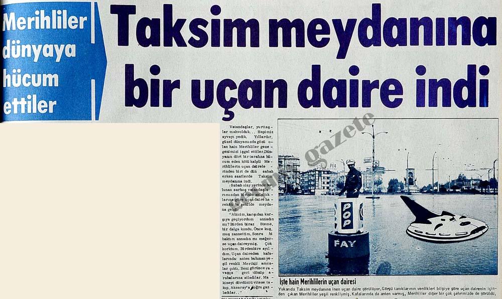 Taksim meydanına bir uçan daire indi