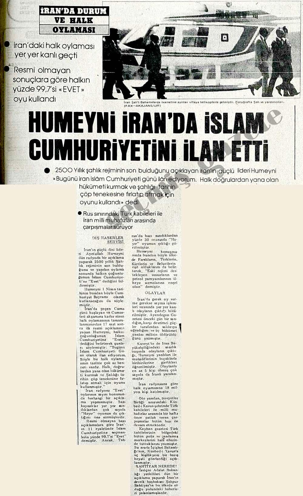 Humeyni İran'da İslam Cumhuriyetini ilan etti