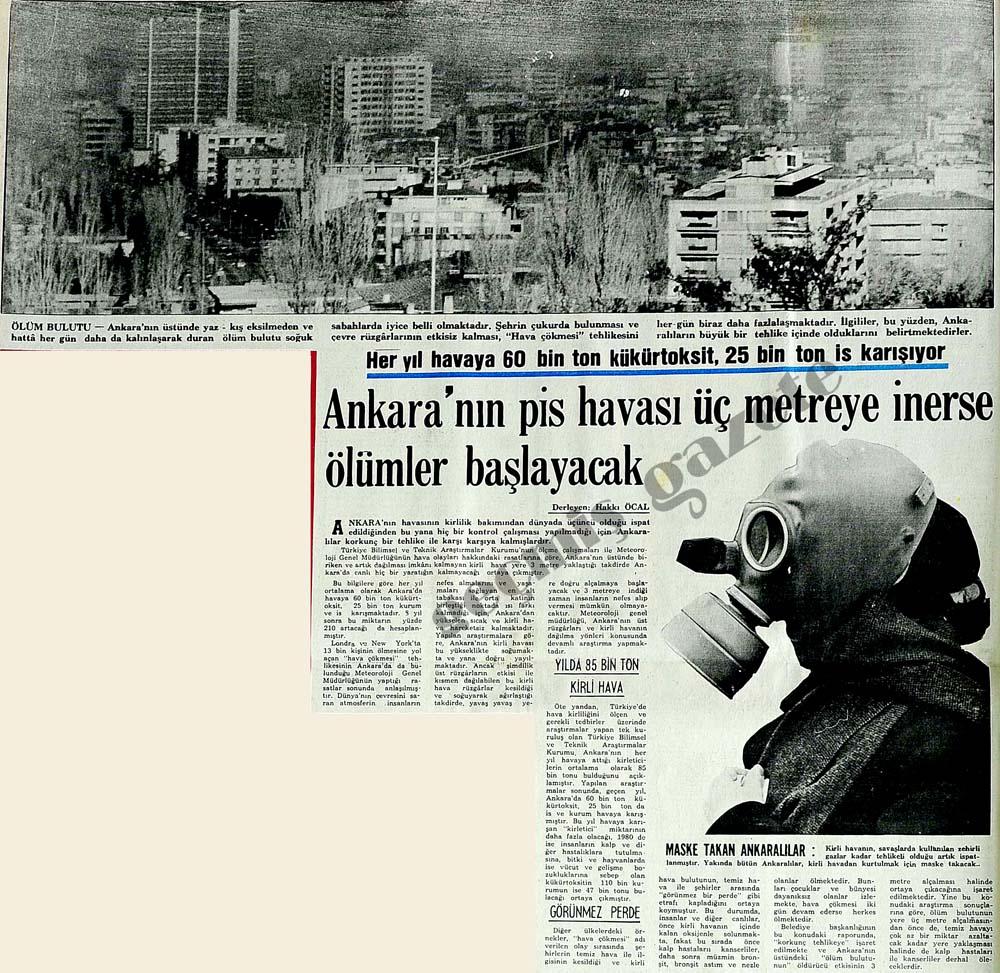 Ankara'nın pis havası üç metreye inerse ölümler başlayacak