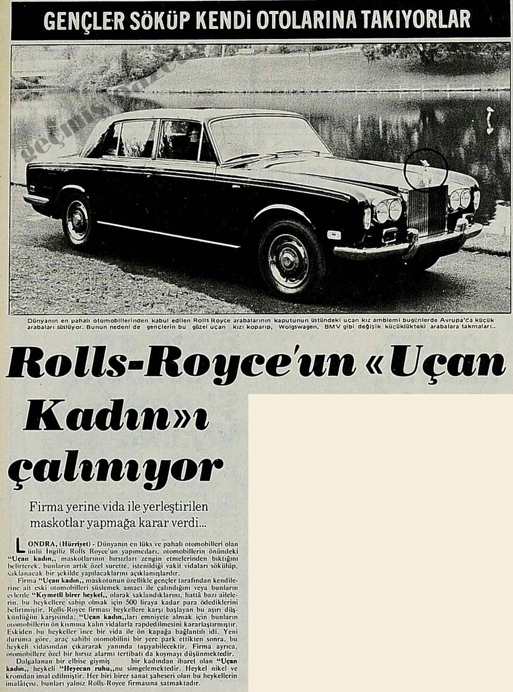 """Rolls-Royce'un """"Uçan Kadın""""ı çalınıyor"""