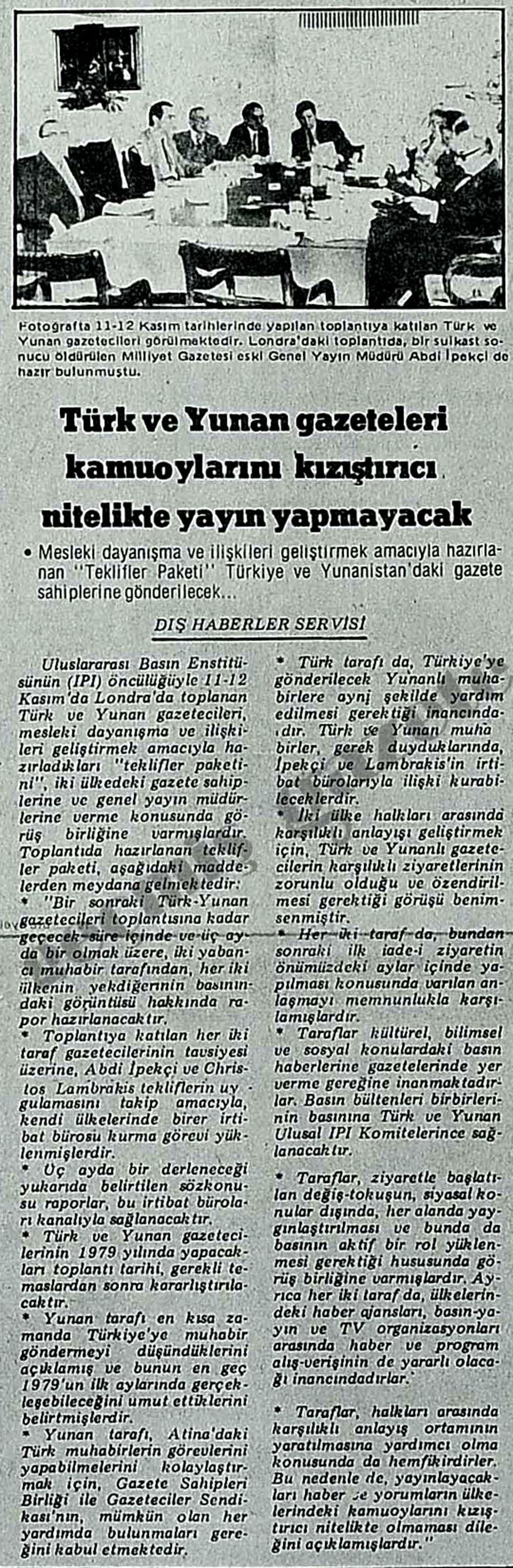 Türk ve Yunan gazeteleri kamuoylarını kızıştırıcı nitelikte yayın yapmayacak