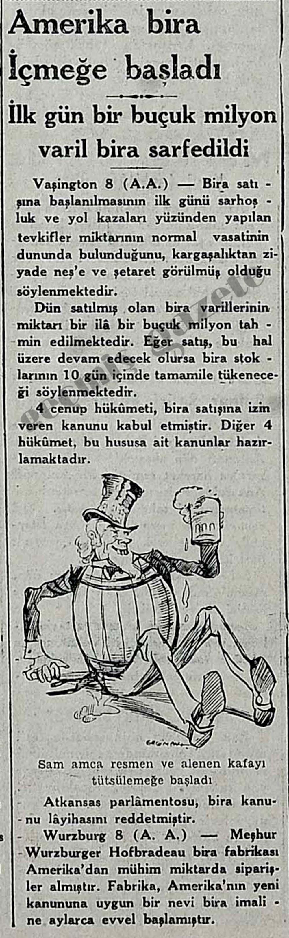 Amerika bira İçmeğe başladı