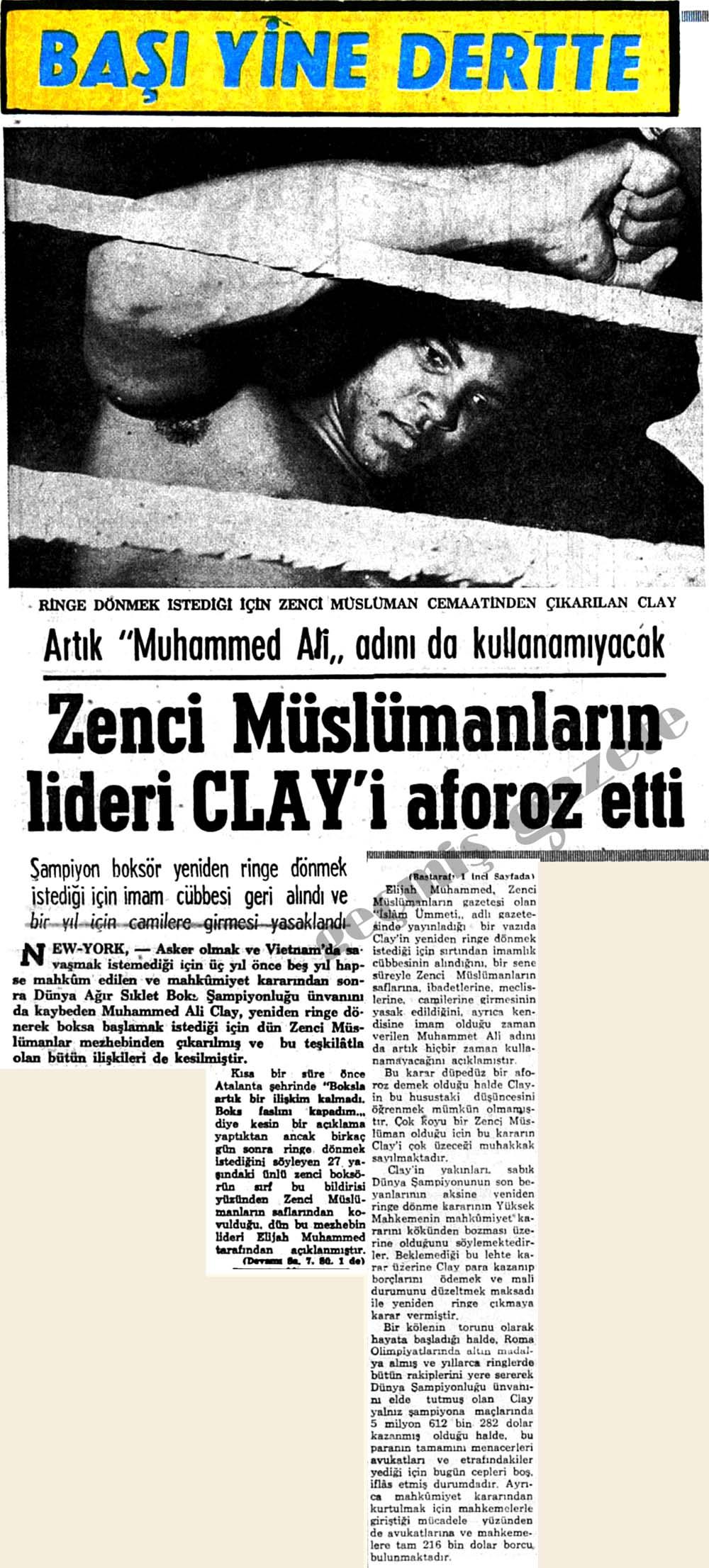 Zenci Müslümanların lideri Clay'i aforoz etti