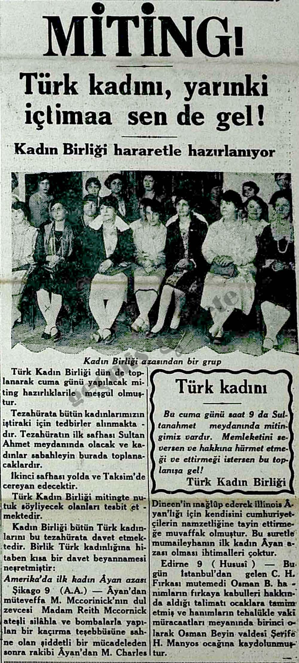 Türk kadını, yarınki içtimaa sen de gel!