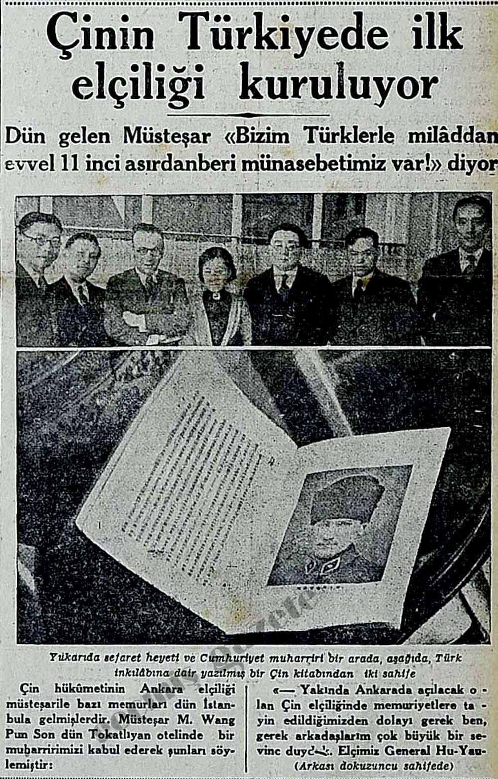Çinin Türkiyede ilk elçiliği kuruluyor