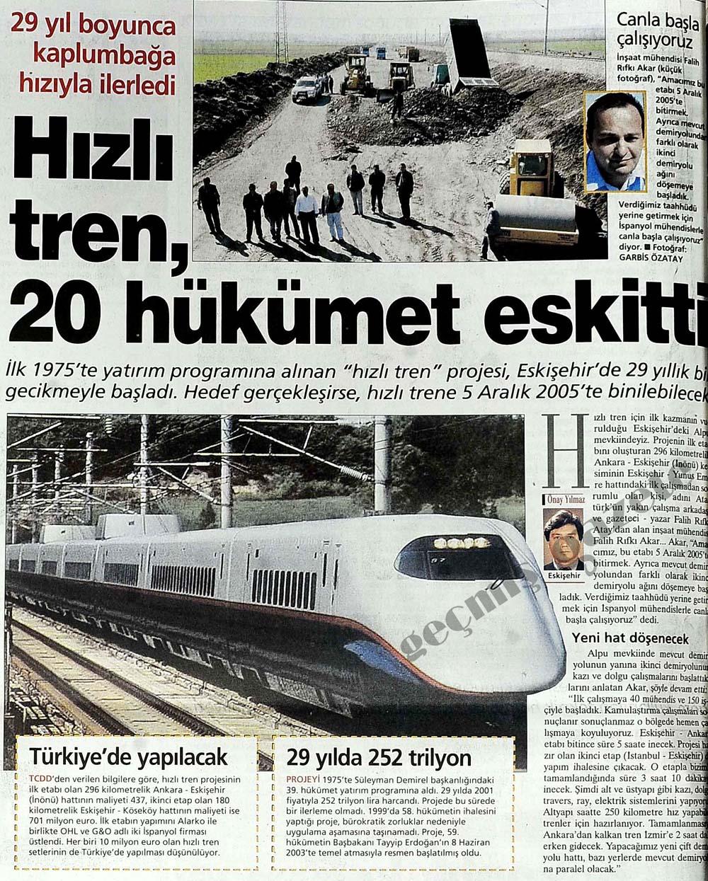 29 yıl boyunca kaplumbağa gibi ilerledi Hızlı tren, 20 hükümet eskitti