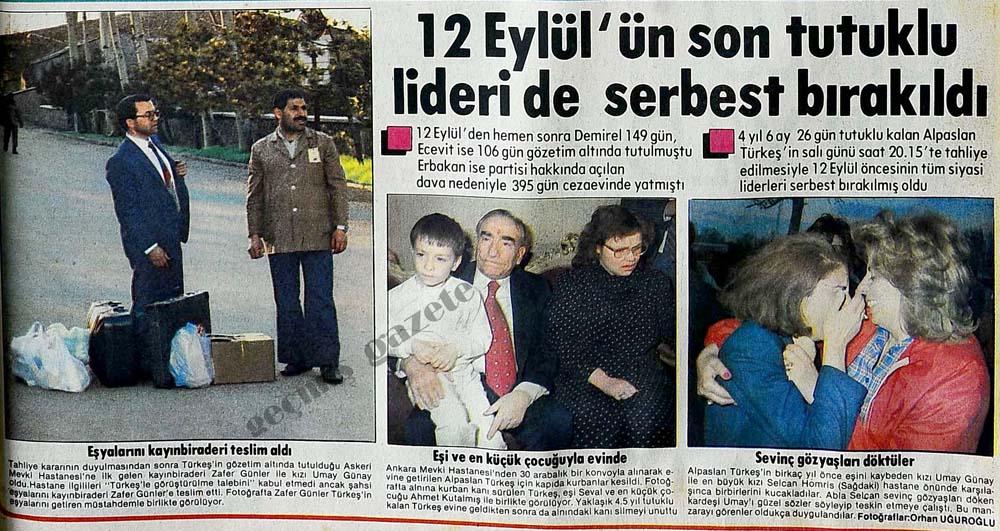 12 Eylül'ün son tutuklu lideri de serbest bırakıldı