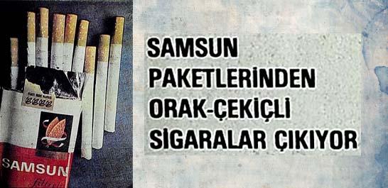 Samsun paketlerinden orak-çekiçli sigaralar çıkıyor