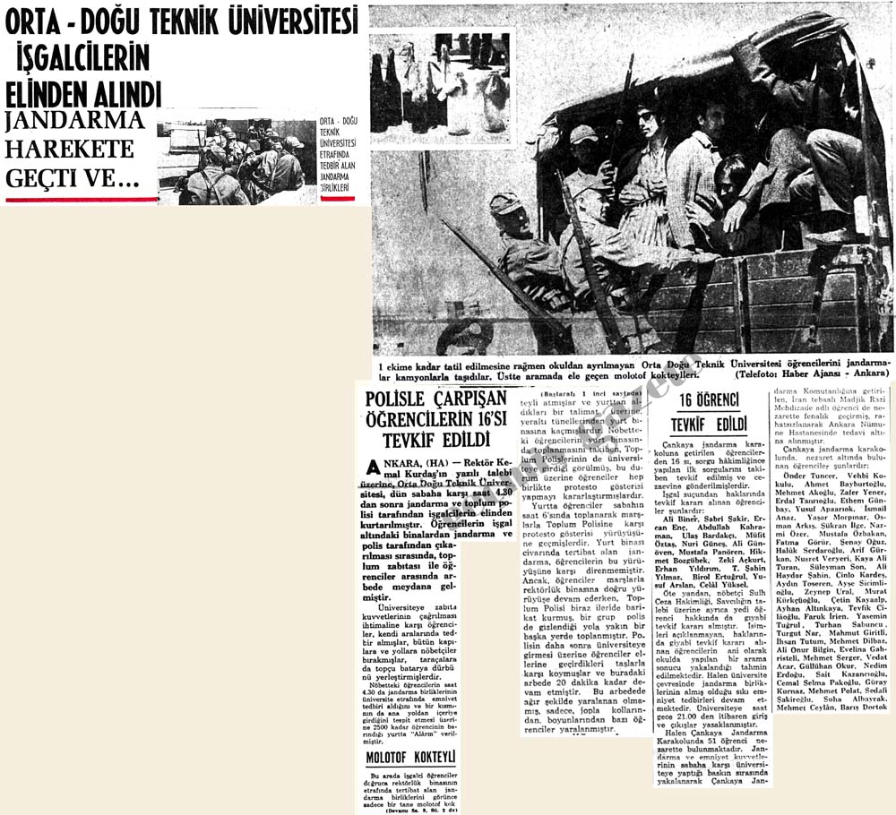 Orta-Doğu Teknik Üniversitesi işgalcilerin elinden alındı