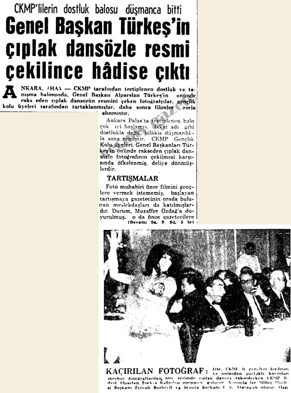 Genel Başkan Türkeş'in çıplak dansözle resmi çekilince hadise çıktı