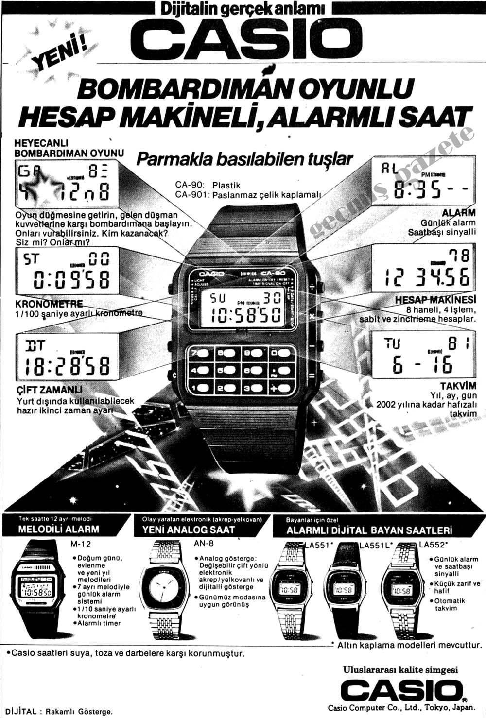Casio bombardıman oyunu, hesap makineli, alarmlı saat