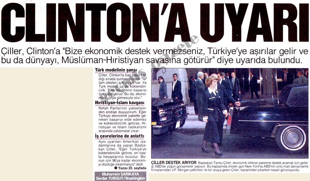 """Çiller """"Bize ekonomik destek vermezseniz, Türkiye'ye aşırılar gelir"""""""