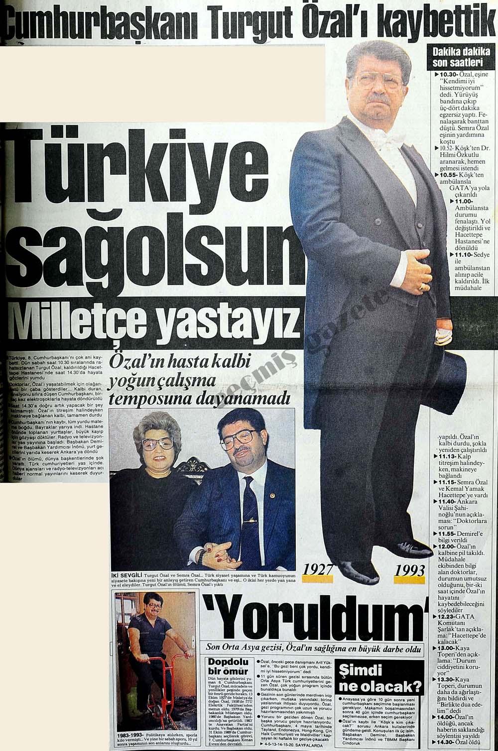 Cumhurbaşkanı Turgut Özal'ı kaybettik
