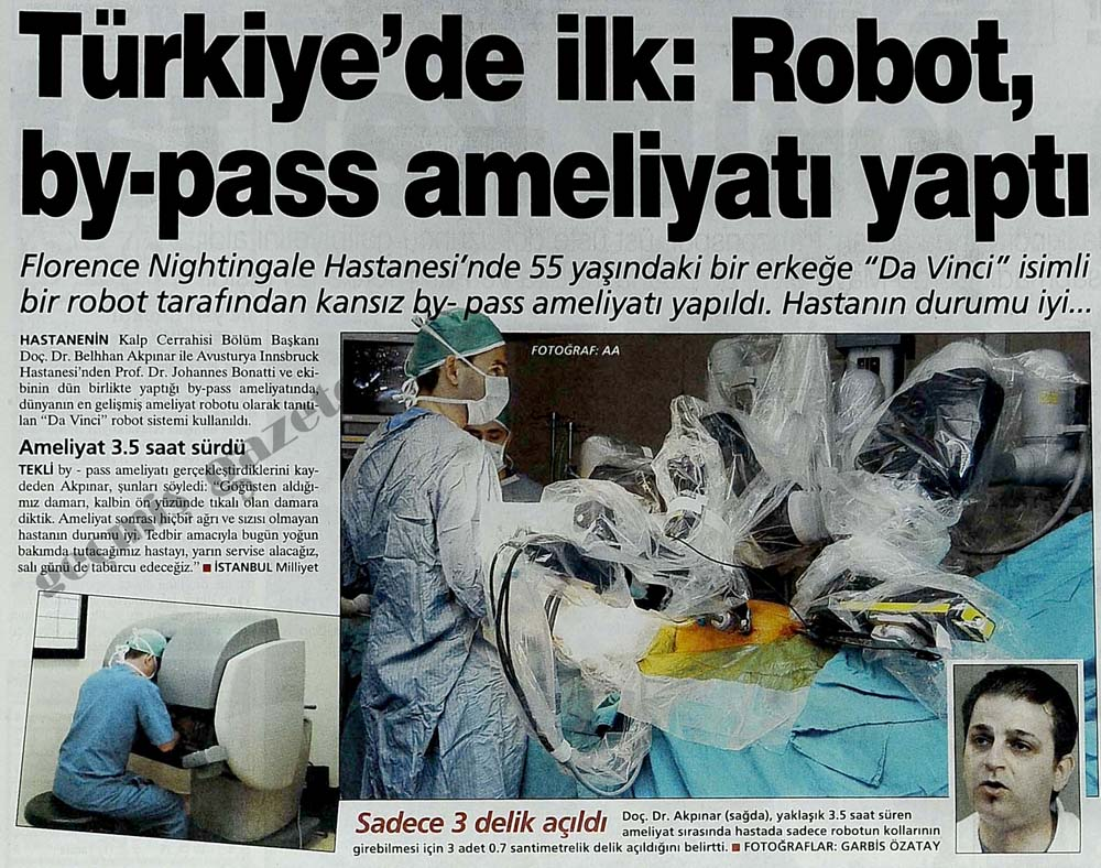Robot by-pass ameliyatı yaptı