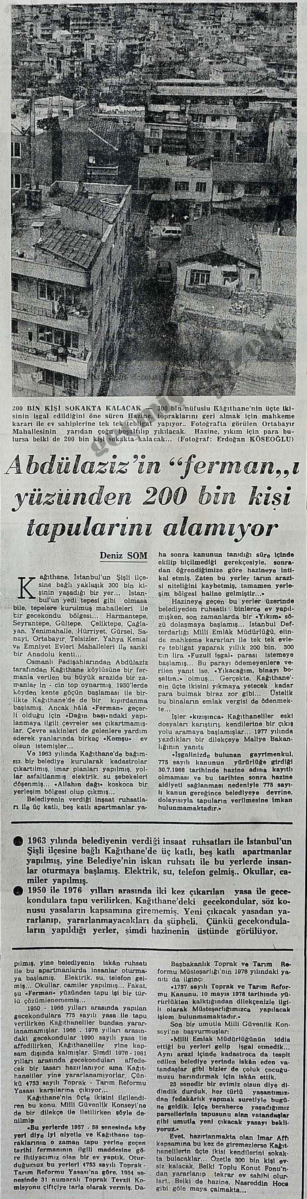 """Abdülaziz'in """"ferman""""ı yüzünden 200 bin kişi tapularını alamıyor"""