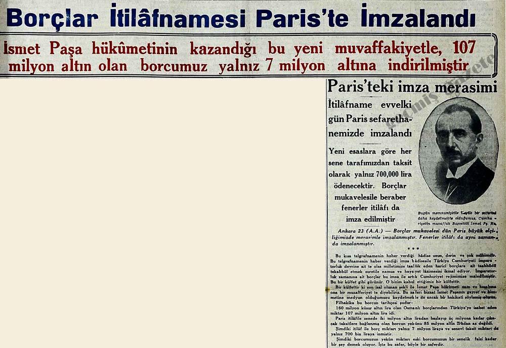 Borçlar İtilafnamesi Paris'te İmzalandı