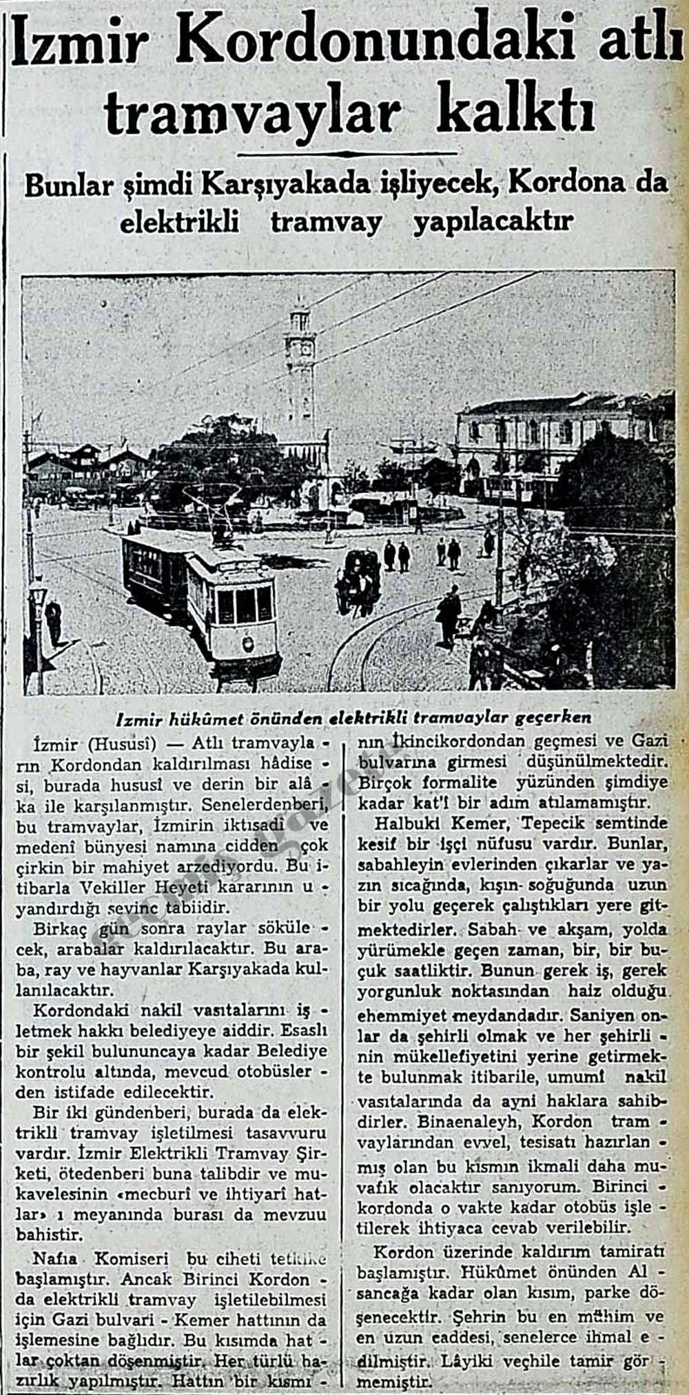 İzmir Kordonundaki atlı tramvaylar kalktı