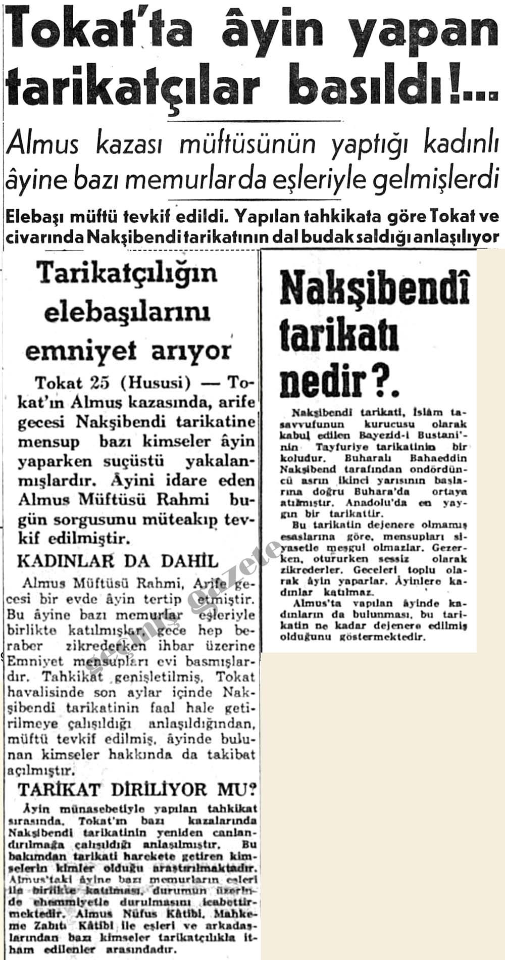 Tokat'ta ayin yapan tarikatçılar basıldı!...