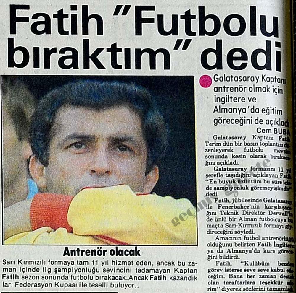 """Fatih """"Futbolu bıraktım"""" dedi"""