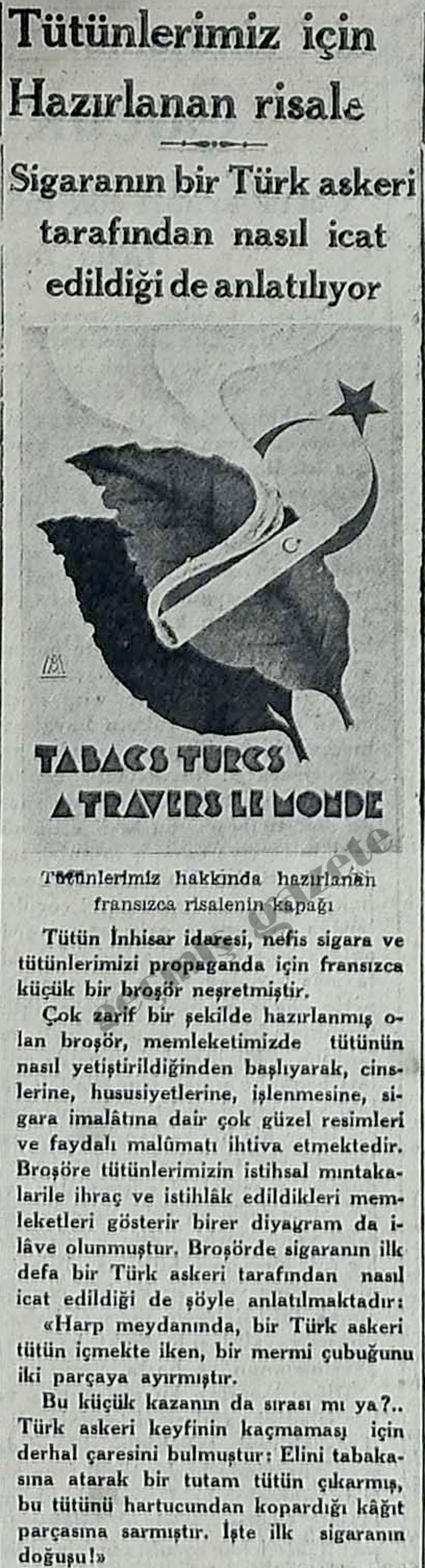 Tütün İnhisar idaresi, nefis sigara ve tütünlerimizi propaganda için broşör neşretmiştir