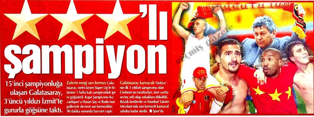 Galatasaray, 3'üncü yıldızı İzmit'te gururla göğsüne taktı