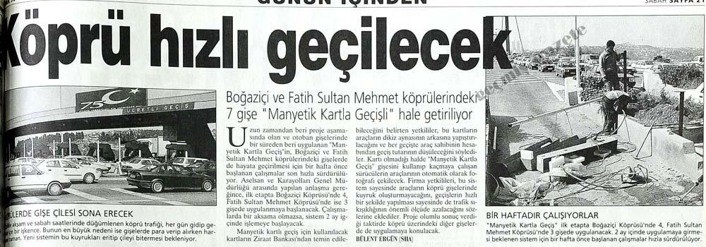 """Boğaziçi ve Fatih Sultan Mehmet köprülerindeki 7 gişe """"Manyetik Kartla Geçişli"""" hale getiriliyor"""