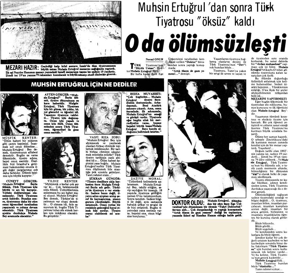 """Muhsin Ertuğrul'dan sonra Türk Tiyatrosu """"öksüz"""" kaldı"""