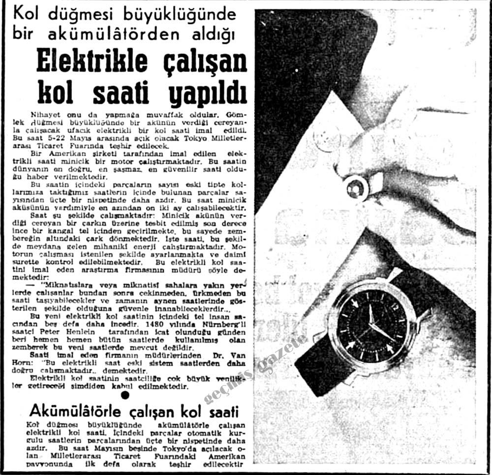 Elektrikle çalışan kol saati yapıldı
