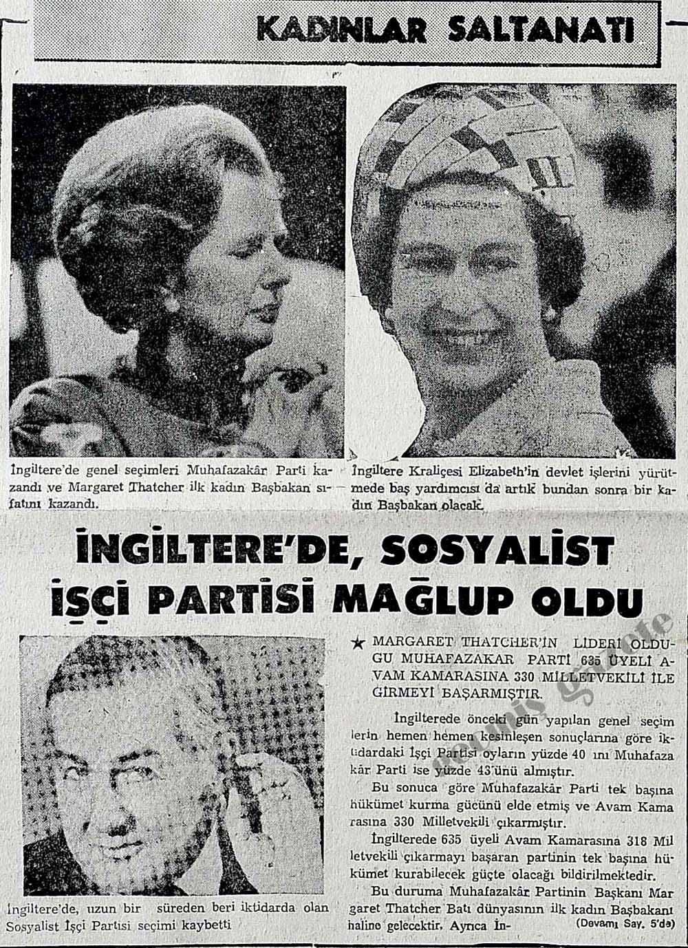 İngiltere'de Margaret Thatcher ilk kadın Başbakan sıfatını kazandı