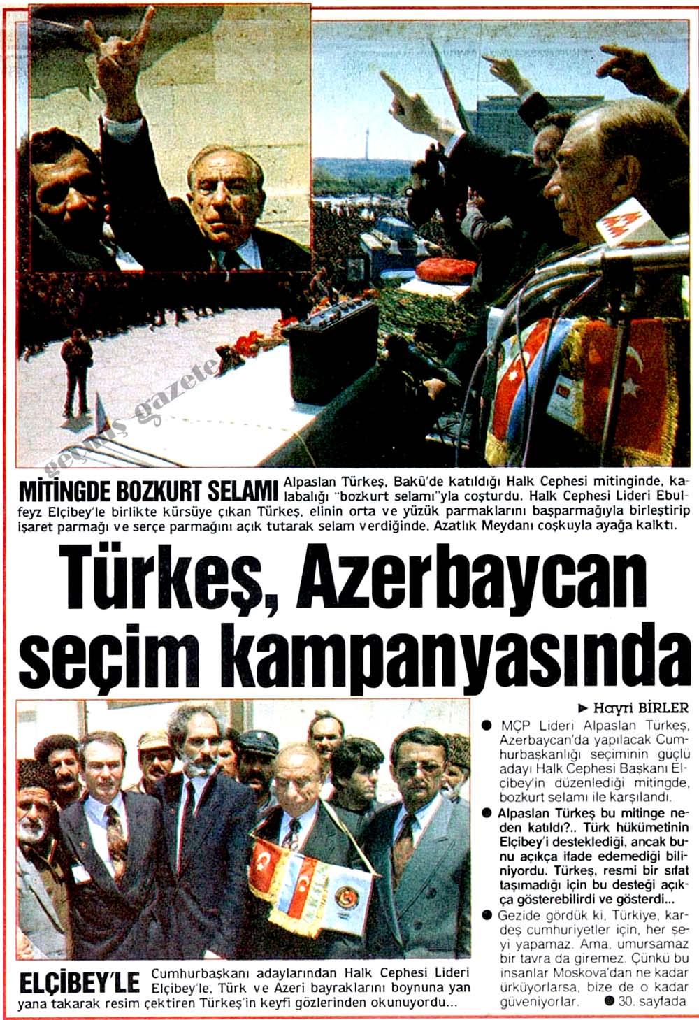 Türkeş, Azerbaycan seçim kampanyasında