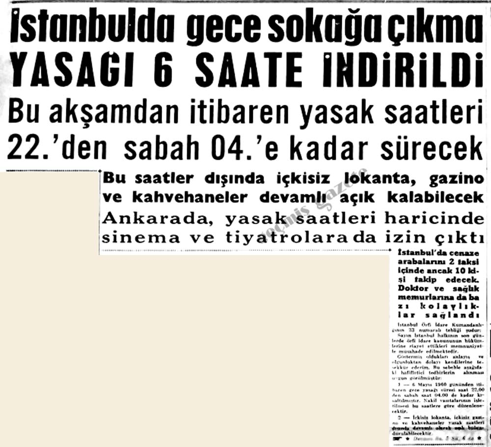İstanbulda gece sokağa çıkma yasağı 6 saate indirildi