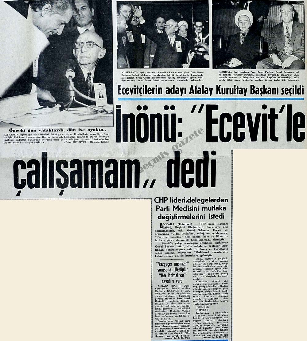 """İnönü: """"Ecevit'le çalışamam"""" dedi"""