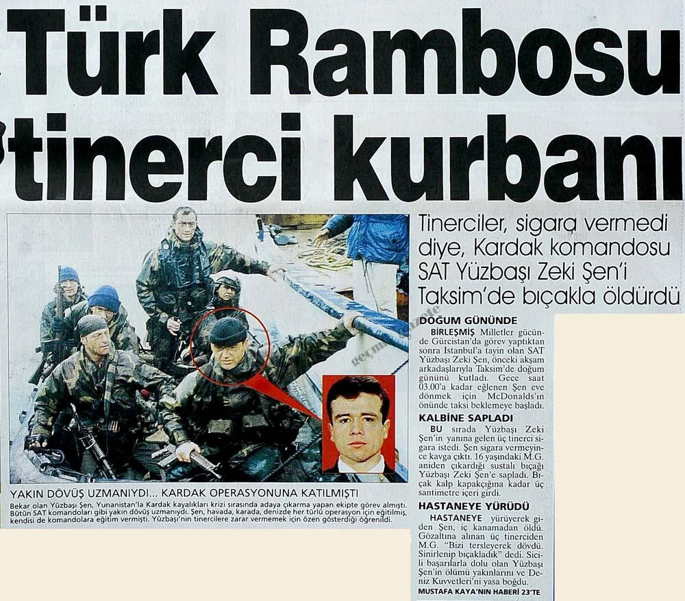 Türk Rambosu tinerci kurbanı