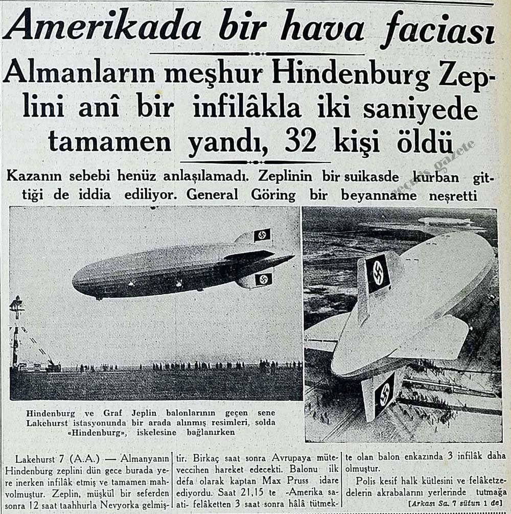 Almanların meşhur Hindenburg Zeplini ani bir infilakla iki saniyede tamamen yandı