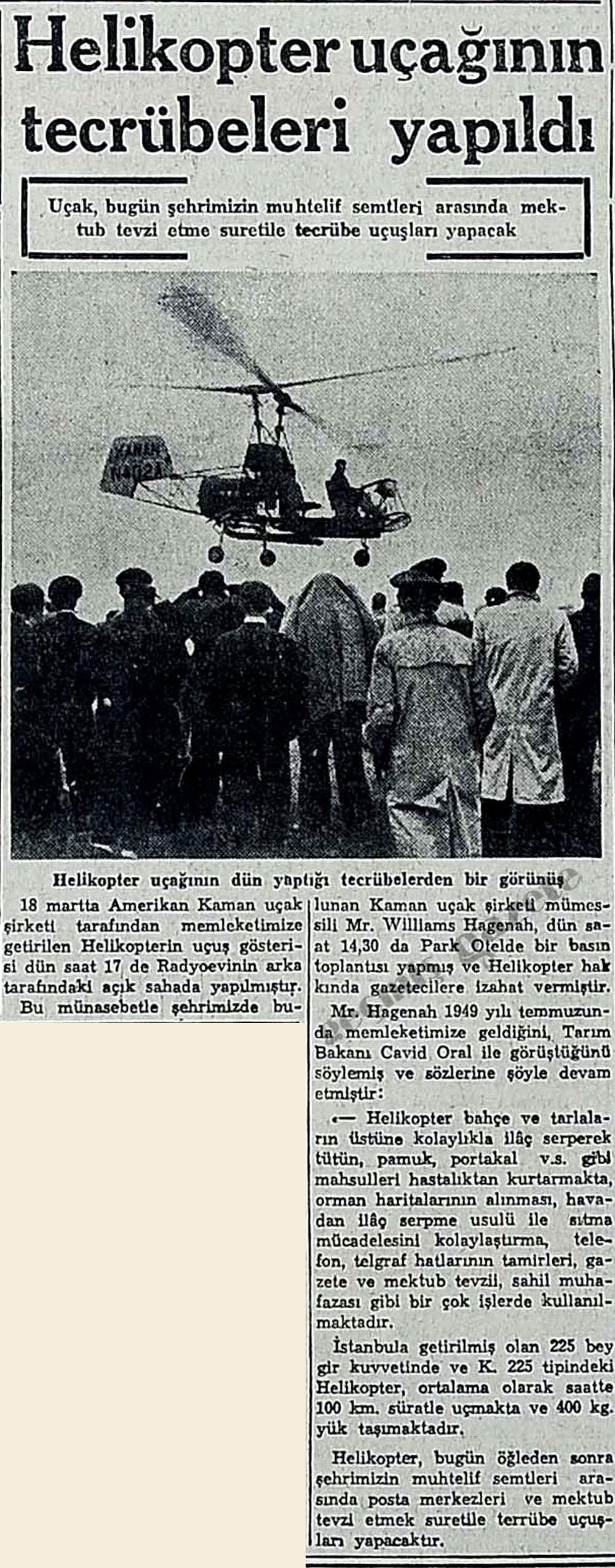 Helikopter uçağının tecrübeleri yapıldı