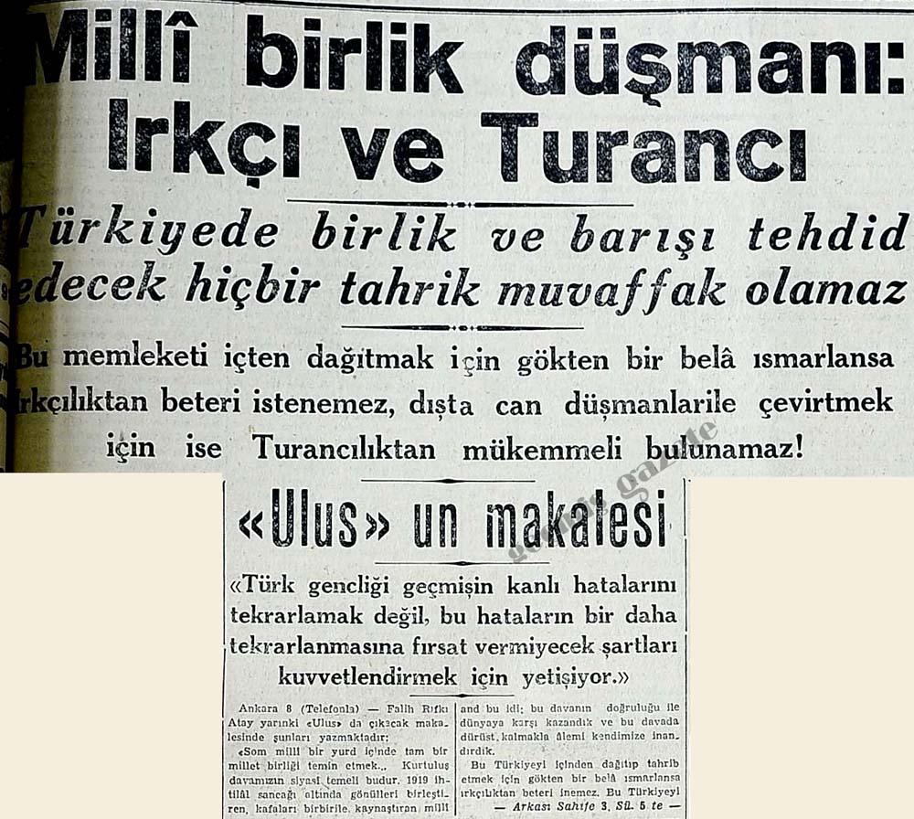 Milli birlik düşmanı: Irkçı ve Turancı