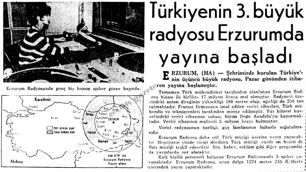 Türkiyenin 3. büyük radyosu Erzurumda yayına başladı
