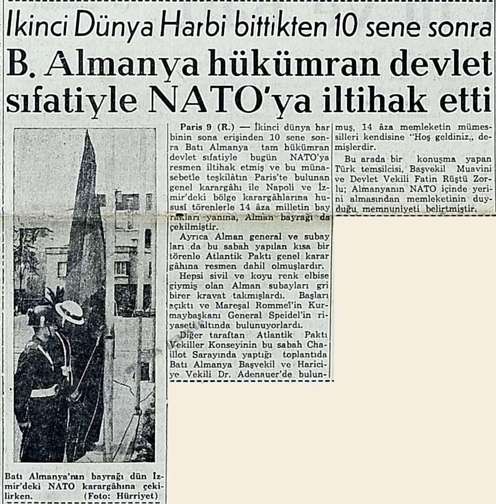 B. Almanya hükümran devlet sıfatiyle NATO'ya iltihak etti