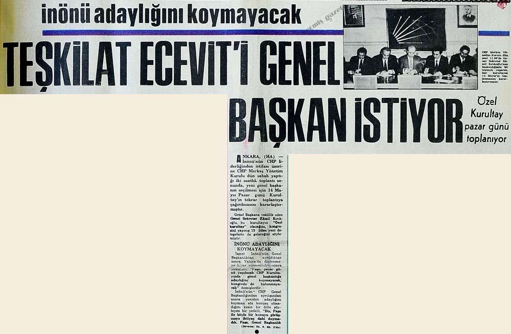 Teşkilat Ecevit'i genel başkan istiyor