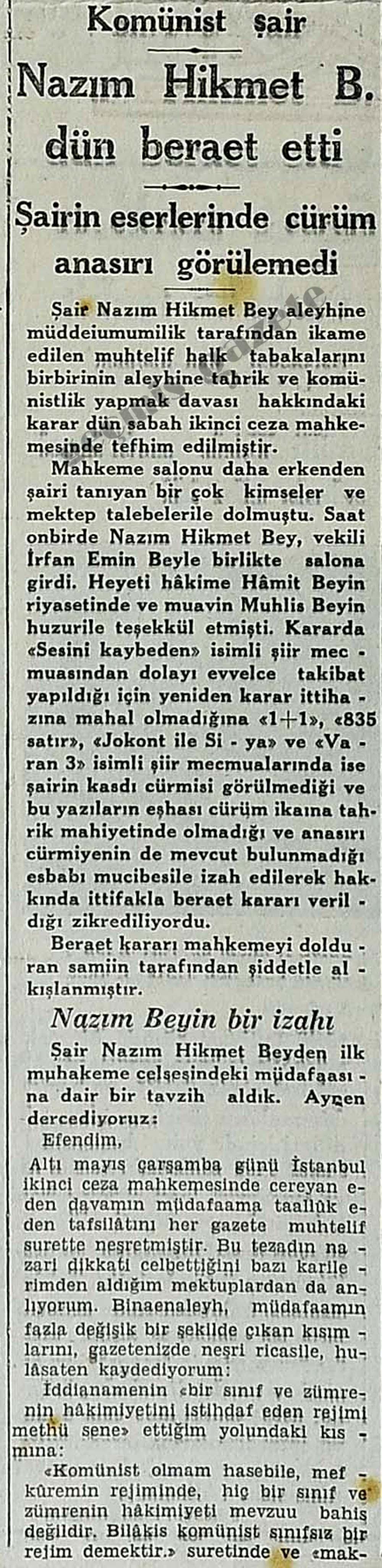 Komünist şair Nazım Hikmet B. dün beraet etti