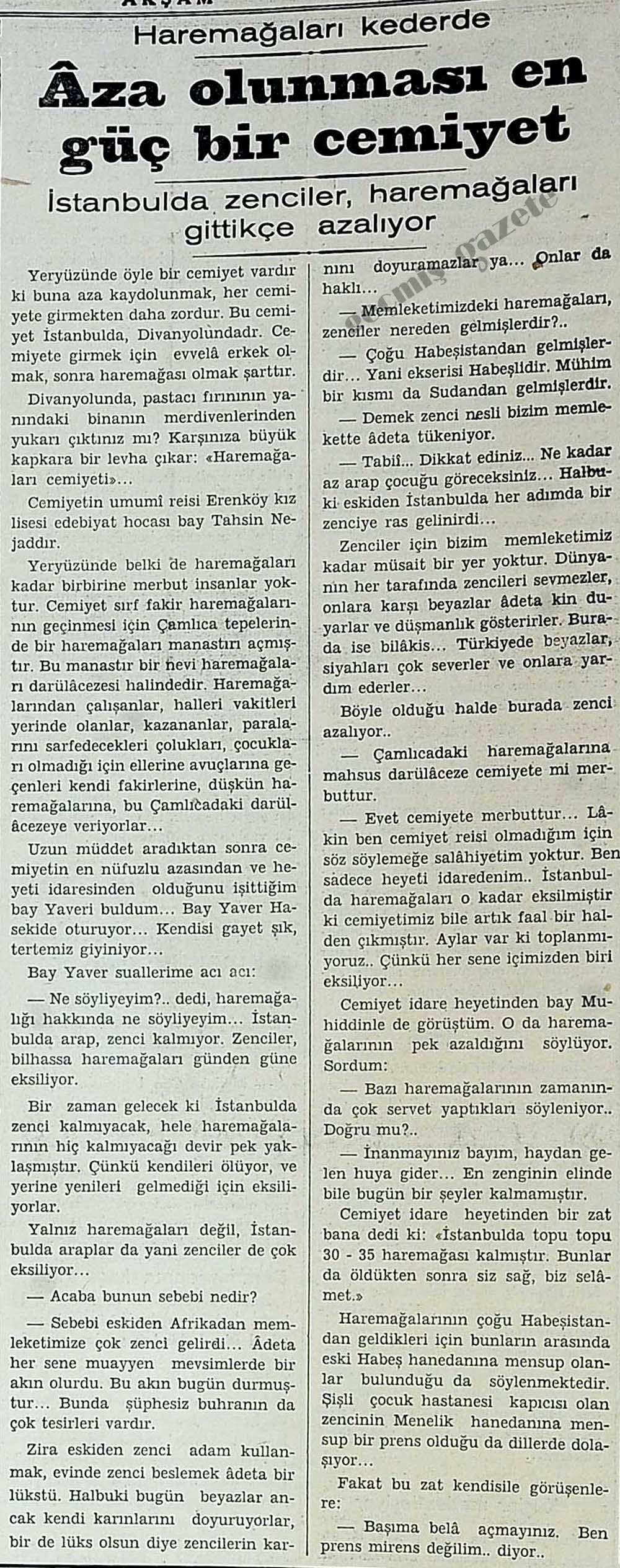 İstanbulda zenciler, haremağaları gittikçe azalıyor