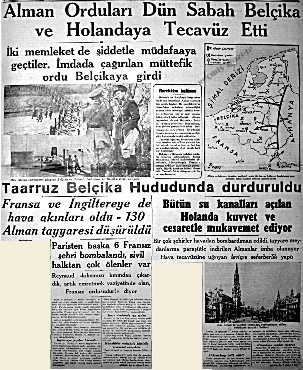 Alman Orduları Dün Sabah Belçika ve Holandaya Tecavüz Etti