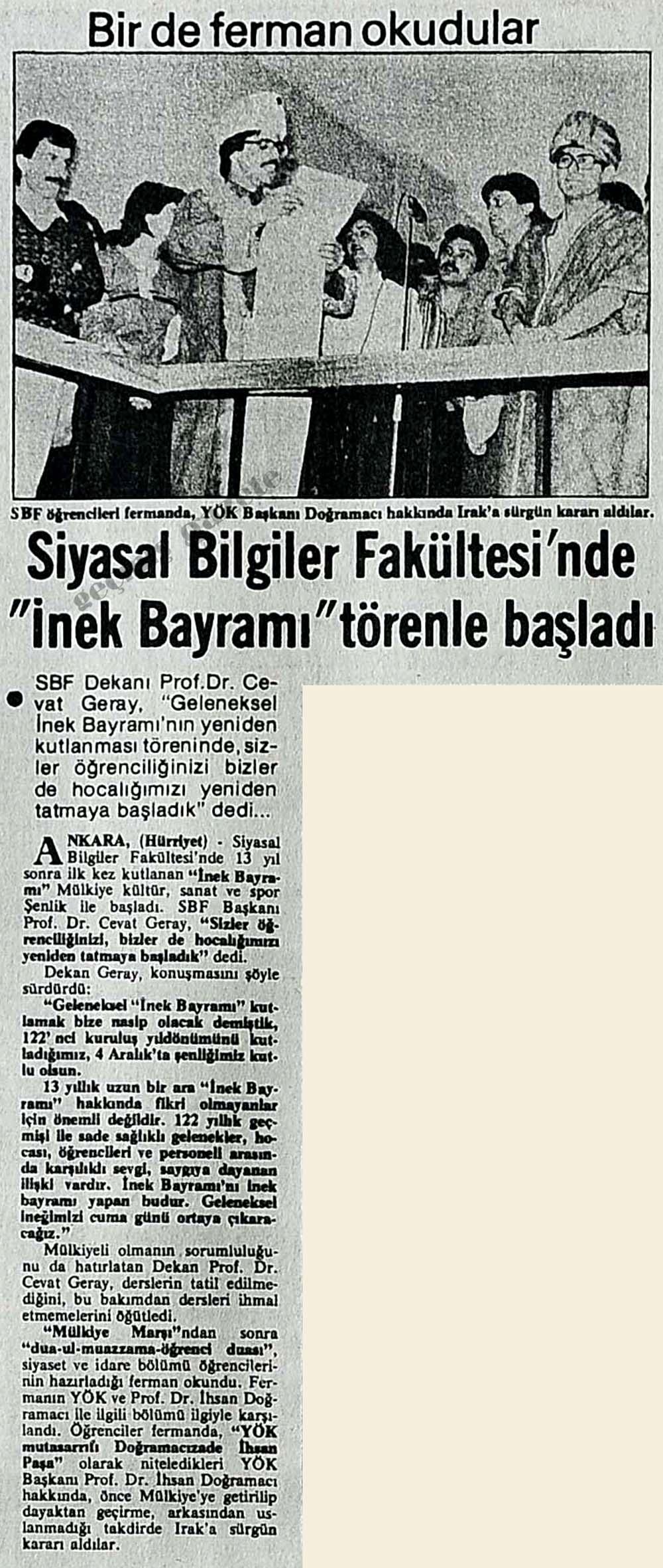 """Siyasal Bilgiler Fakültesi'nde """"İnek Bayramı"""" törenle başladı"""